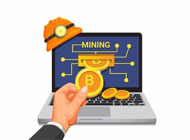 Mineração de bitcoin, mão pega moeda de laptop, aplicativo móvel financeiro em desenho animado