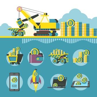 Mineração de bitcoins. a tecnologia de carenagem carrega bitcoins em um caminhão basculante. ilustração conceitual. ícones de mineração de bitcoin. clipart do vetor.