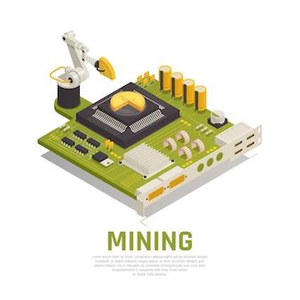 Mineração de blockchain isométrica