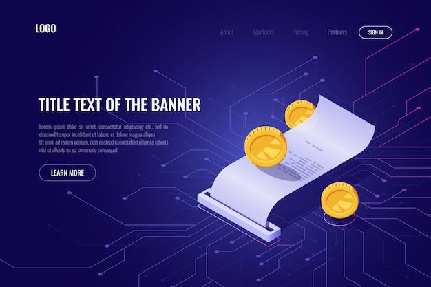 Mineração de criptomoeda e conceito de pagamento, ico isométrica banner, página da web da tecnologia blockchain