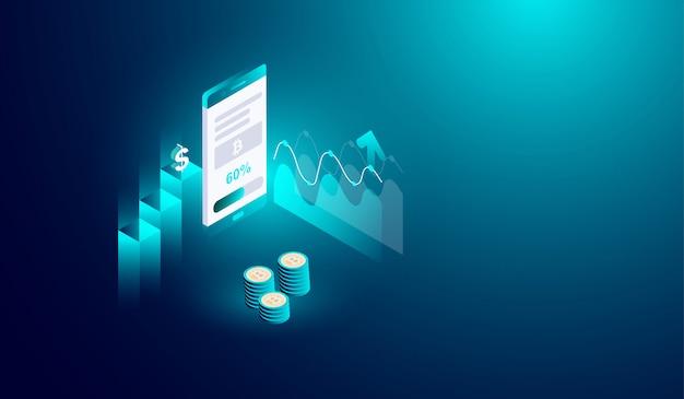 Mineração de criptomoeda no conceito de smartphone