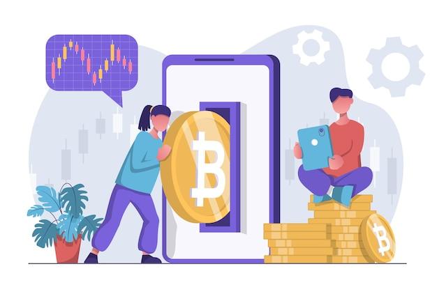 Mineração de criptomoeda uma mulher coloca um bitcoin em seu smartphone um homem se senta em um ouro