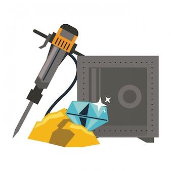 Mineração de diamantes com strongbox e broca