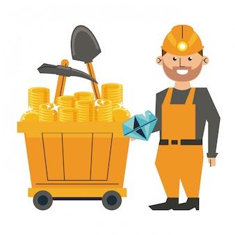 Mineração de diamantes e trabalhador com ferramentas no vagão