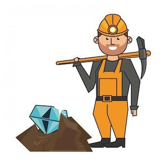 Mineração de diamantes e trabalhador com picareta