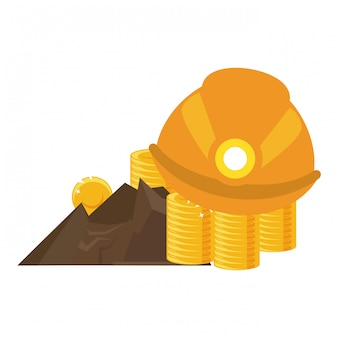 Mineração de moedas de ouro e capacete