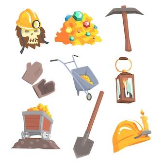 Mineração de ouro, definida para. equipamento de mineração, oeste selvagem. desenhos animados coloridos ilustrações detalhadas