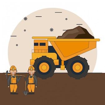 Mineração dos trabalhadores dos desenhos animados
