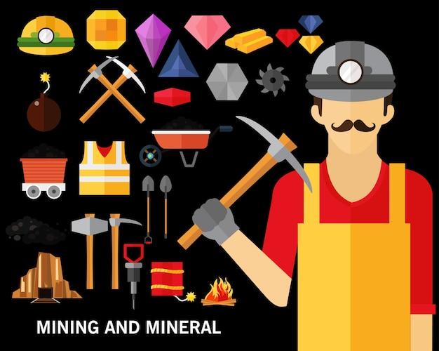 Mineração e mineral conceito fundo