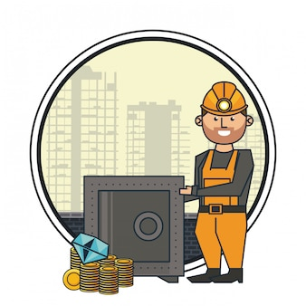 Mineração e trabalhador dos desenhos animados