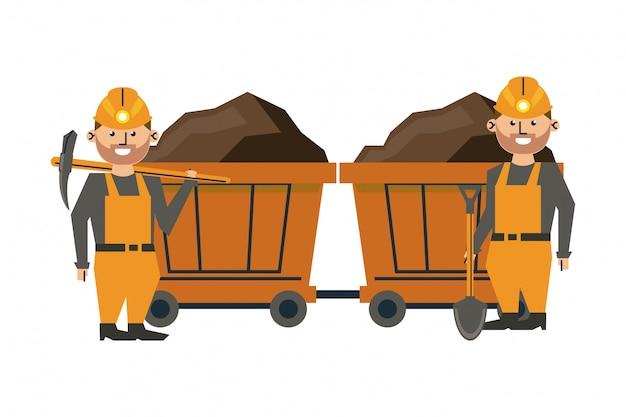 Mineração e trabalhadores dos desenhos animados