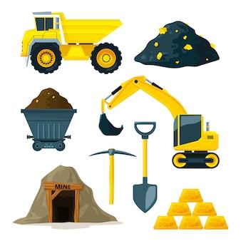 Mineração em diferentes minerais, ouro e diamantes