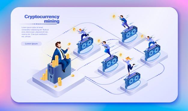 Mineração por criptomoeda. ilustração vetorial.