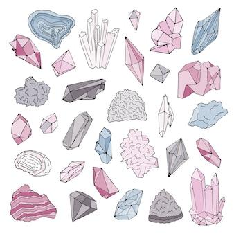 Minerais, cristais, joias conjunto de mão desenhada de ilustração de cor isolado.