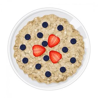 Mingau com frutas no fundo branco. saboroso café da manhã. objeto isolado em um fundo branco. estilo dos desenhos animados. objeto para embalagens, anúncios, menu. ilustração.