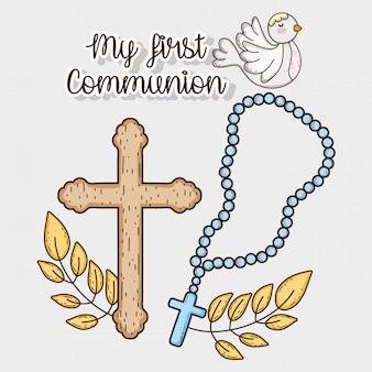 Minha primeira comunhão com cruz e pomba de rosário