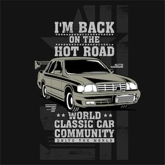 Minhas costas na estrada quente ilustração de carro clássico com motor rápido