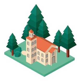 Mini árvore e castelo edifício isométrico