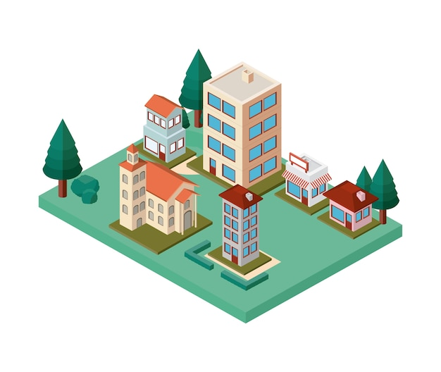 Mini árvores e edifícios bairro isométrico