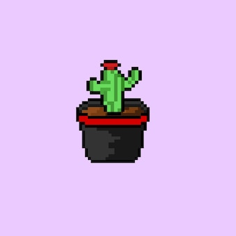 Mini cacto em um vaso com estilo pixel art