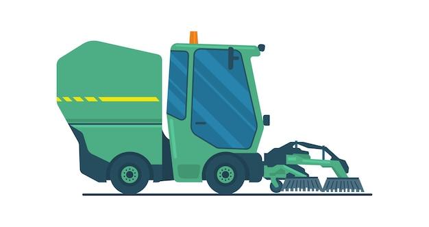Mini caminhão varredora a vácuo com escovas. ilustração vetorial.