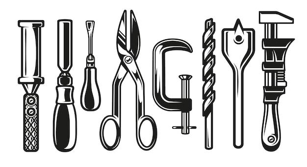 Mini conjunto de ferramentas de carpinteiro em fundo branco