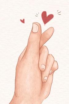 Mini coração sinal de mão vetor elemento de design bonito ilustração desenhada à mão