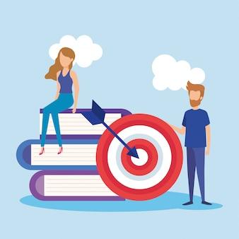 Mini pessoas com alvo e livros