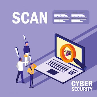 Mini pessoas com laptop infectado e segurança cibernética