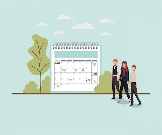 Mini pessoas com lembrete de calendário