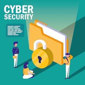 Mini pessoas com pasta de documentos e segurança cibernética