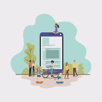 Mini pessoas que trabalham no smartphone