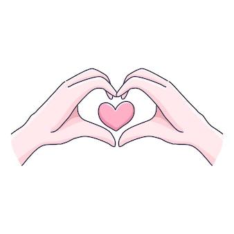 Mini sinal de mãos com corações