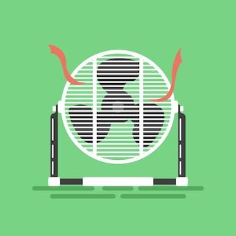 Mini ventilador de ar do assoalho com fitas vermelhas