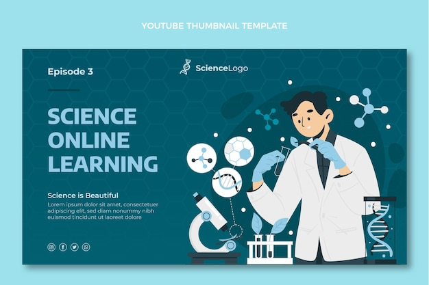 Miniatura científica plana do youtube