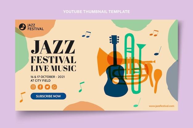 Miniatura colorida desenhada à mão do youtube do festival de música