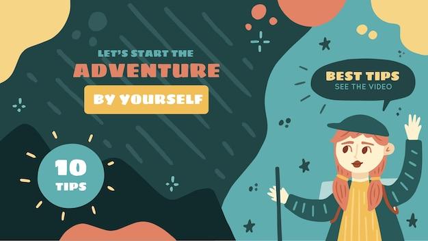 Miniatura de aventura desenhada à mão no youtube