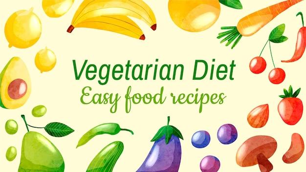 Miniatura de comida vegetariana em aquarela no youtube