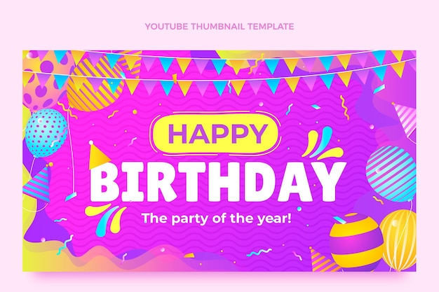 Miniatura de gradiente colorido de aniversário do youtube