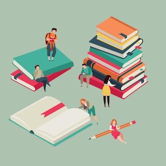 Miniatura de livros de educação com a leitura de jovens.