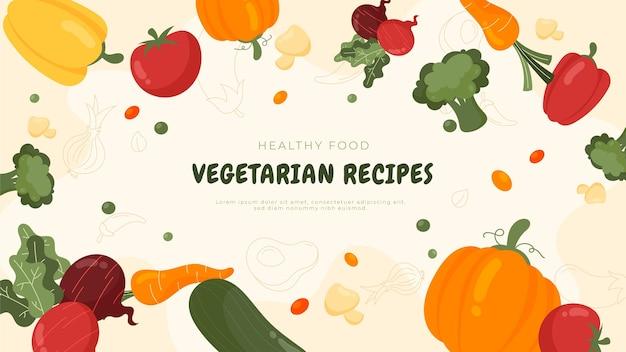 Miniatura desenhada à mão de comida vegetariana no youtube