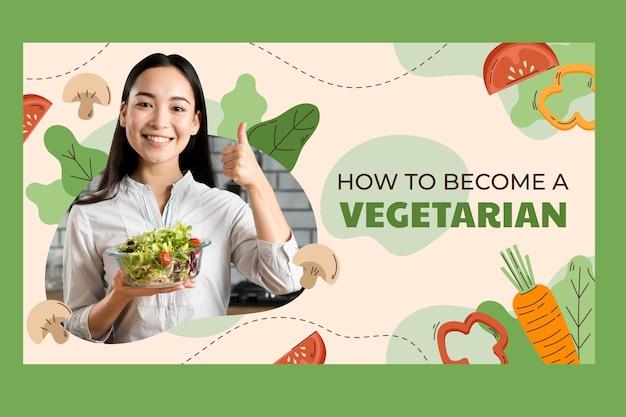 Miniatura desenhada à mão de comida vegetariana plana no youtube