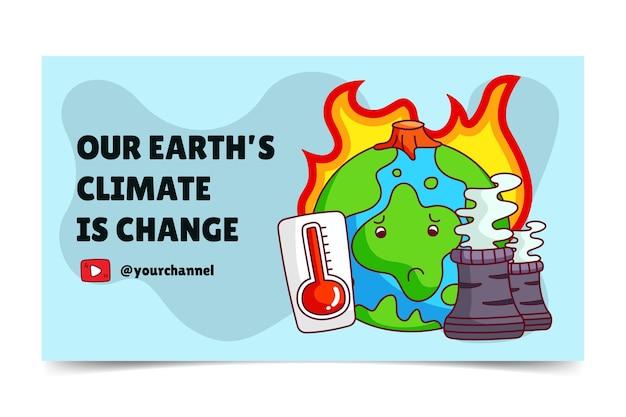 Miniatura desenhada à mão sobre mudanças climáticas no youtube