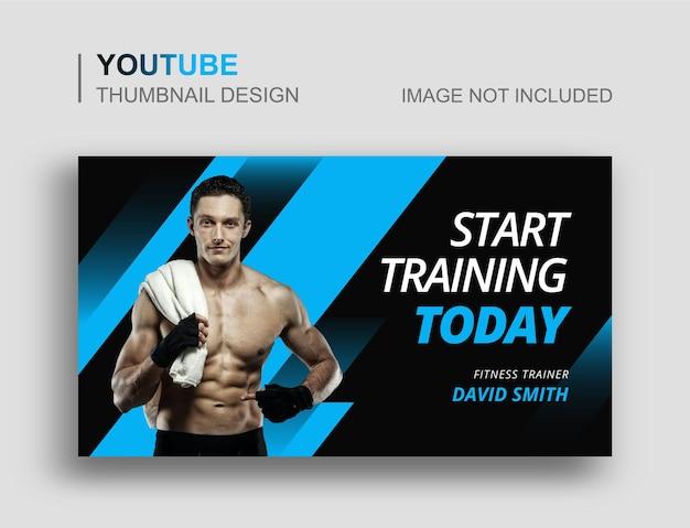 Miniatura do youtube da academia de ginástica e design do banner da web