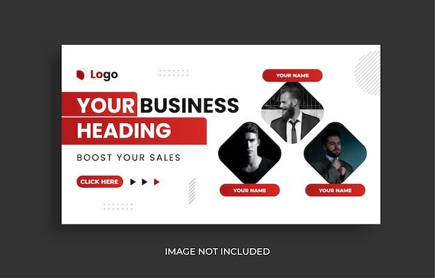 Miniatura do youtube da agência de marketing digital e modelo de design de banner da web
