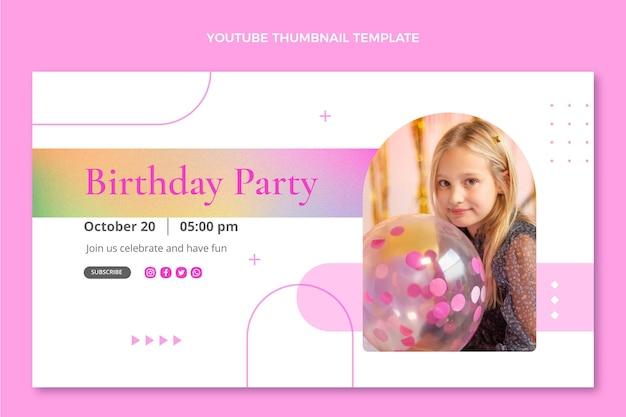Miniatura do youtube de aniversário de textura gradiente