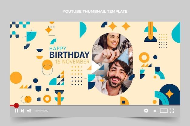 Miniatura do youtube de aniversário em mosaico plano