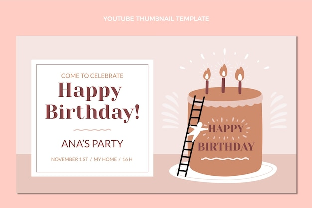 Miniatura do youtube de aniversário mínimo de design plano