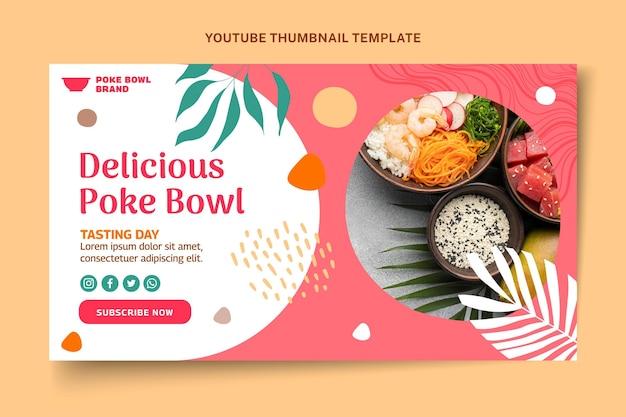 Miniatura do youtube de comida de design plano
