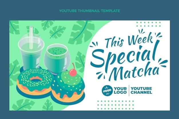 Miniatura do youtube de comida matcha plana